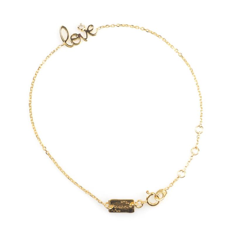 Bijou femme bracelet  love plat sertie d'un diamant