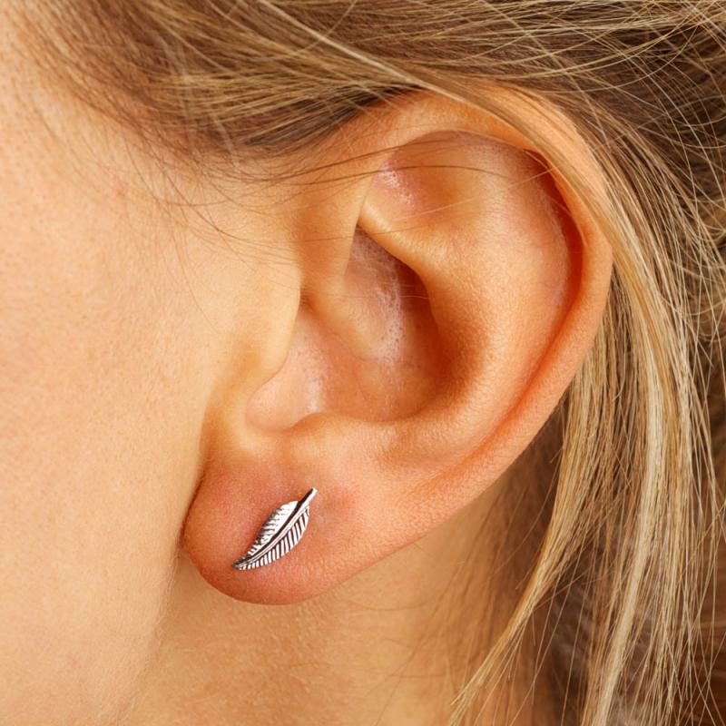 Bijou femme boucles d'oreilles  plume