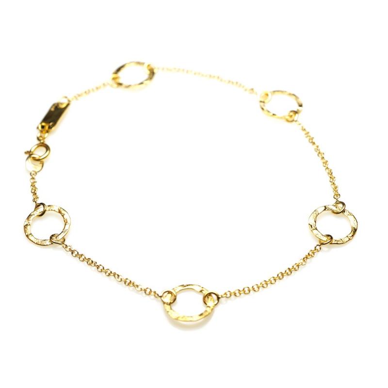 Bijou femme bracelet 5 petits ronds fil grunge ajourés