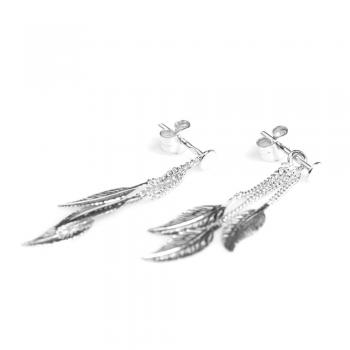 Boucles d'oreilles  3 plumes pendantes