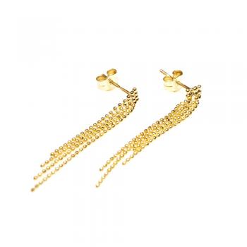 Boucles d'oreilles chaine boule facetée dégradée en Or jaune ou Or blanc