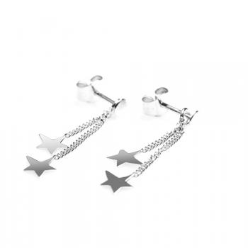 Boucles d'oreille 2 étoiles asymétriques en Or jaune ou Or blanc