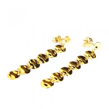 Boucles d'oreilles 7 petits ronds froissés en Or jaune ou Or blanc