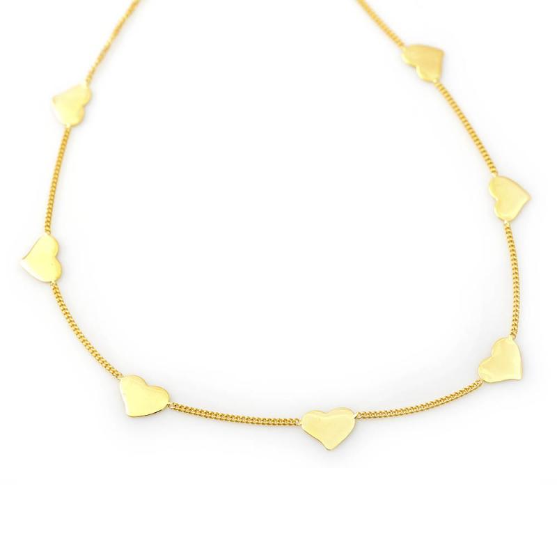 Bijou femme collier  5 petits coeurs asymétriques