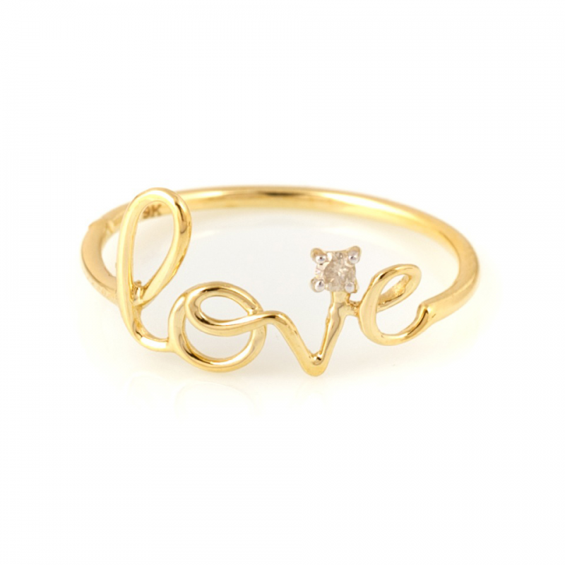 Bijou femme, bague, love, diamant, Or jaune et blanc, 9 carats