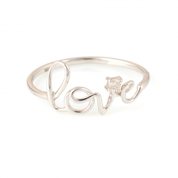 Bague love diamant Or jaune ou Or blanc 9 carats