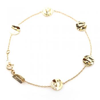 Bracelet  5 petits ronds froissés en Or jaune ou Or blanc
