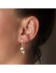Bijou femme boucles d'oreilles 2 ronds froissés