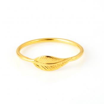 Bague plume petit modèle en Or jaune ou Or blanc