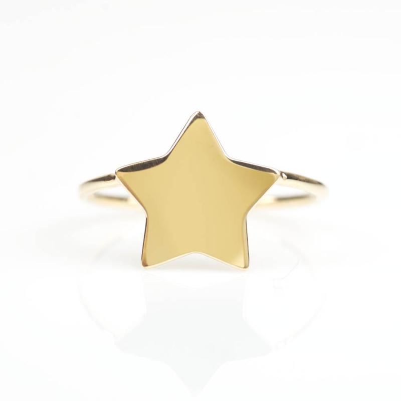 Bijou femme bague étoile Or jaune et blanc 9 carats