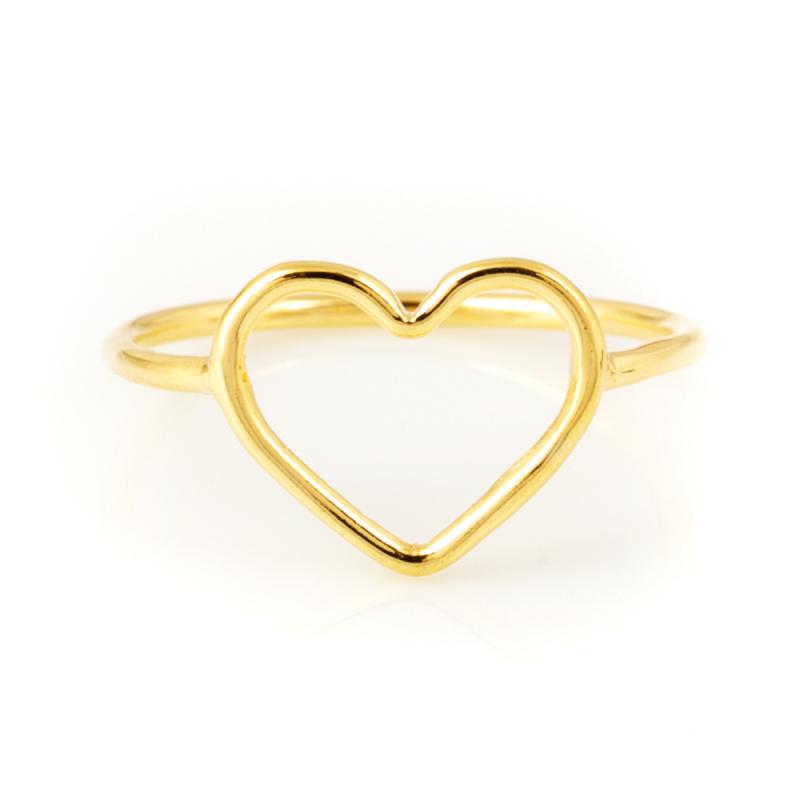 Bijou femme, bague ajourée coeur Or jaune et blanc, 9 carats