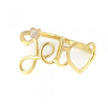 Bague je t'aime diamant Or jaune ou Or blanc 9 carats