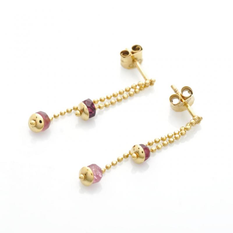 Bijou femme boucles d'oreilles 2 pendants chaîne boule et tourmalines roses en Or jaune ou Or blanc