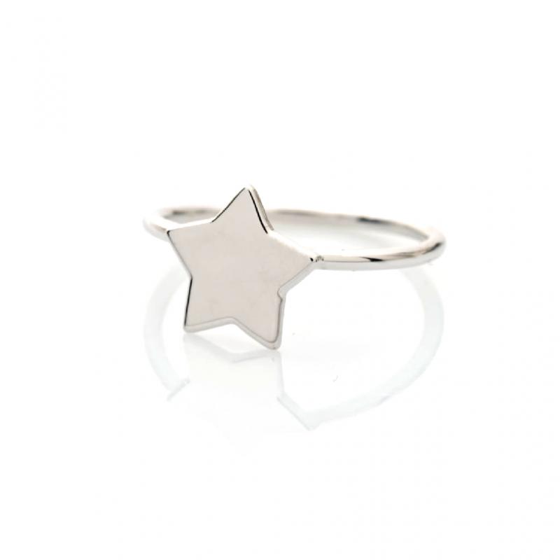 Bijou femme bague étoile petit modèle plate en Or jaune ou Or blanc