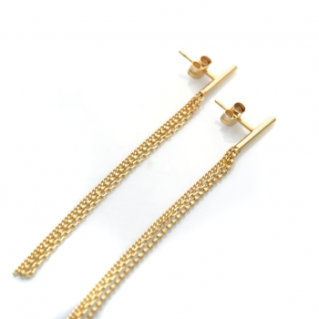Bijou Femme Boucles d'oreilles semi rigide et 3 chaînettes en Or jaune ou Or blanc