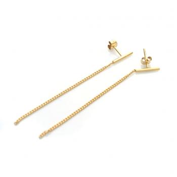 Boucles d'oreilles semi rigide et 1 chaîne en Or jaune ou Or blanc