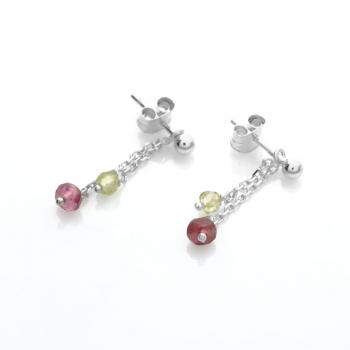 Boucles d'oreilles 2 pendants tourmaline rose et péridot en Or jaune ou Or blanc