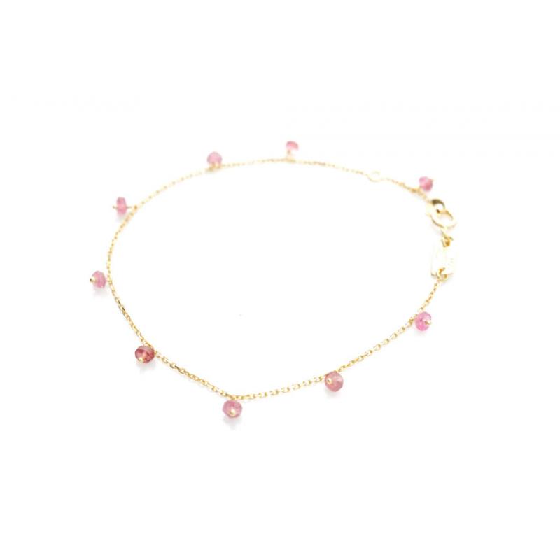 Bijou femme bracelet et tourmalines roses en Or jaune ou Or blanc