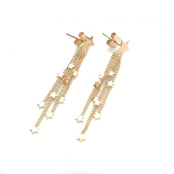 Boucles d'oreille étoile et chaînettes étoilées en Or jaune ou Or blanc