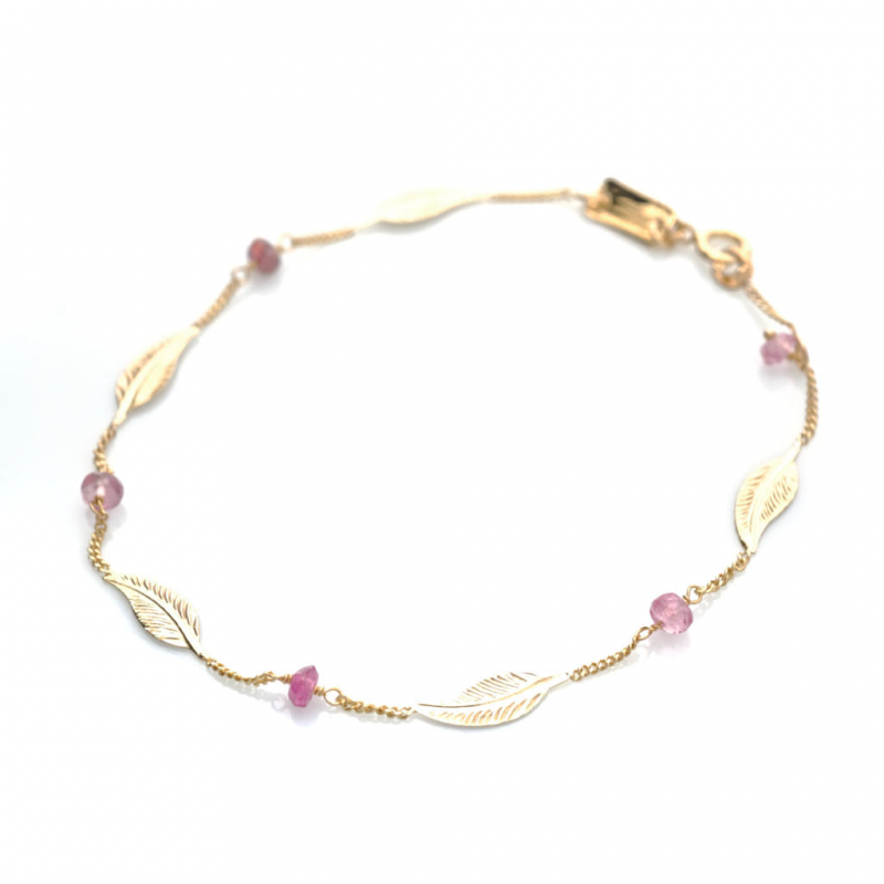 Bijou femme bracelet  5 petites plumes et tourmalines roses Or jaune ou Or blanc
