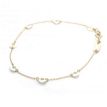Bracelet 7 petits ronds ajourés en Or jaune ou Or blanc