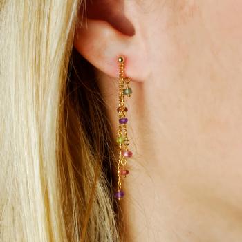 Boucles d'oreilles 2 pendants chaîne boule et 14 pierres fines en Or jaune ou Or blanc