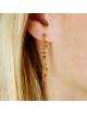 Bijou femme boucles d'oreilles 2 pendants chaîne boule et 14 pierres fines en Or jaune ou Or blanc
