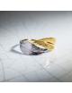 Bijou femme, bague double plumes bicolore, Or jaune ou Or blanc, 9 carats