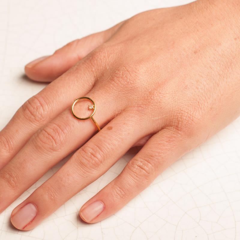 Connu Bijou femme Or : Bague Ajourée rond serti d'un diamant DY68