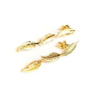 Boucles d'oreilles enfant 3 plumes en Or jaune ou Or blanc