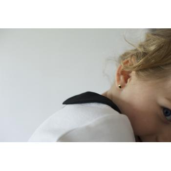Boucles d'oreilles enfant coeur bombé en Or jaune ou Or blanc