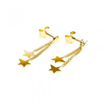 Boucles d'oreille enfant 2 étoiles asymétriques en Or jaune ou Or blanc