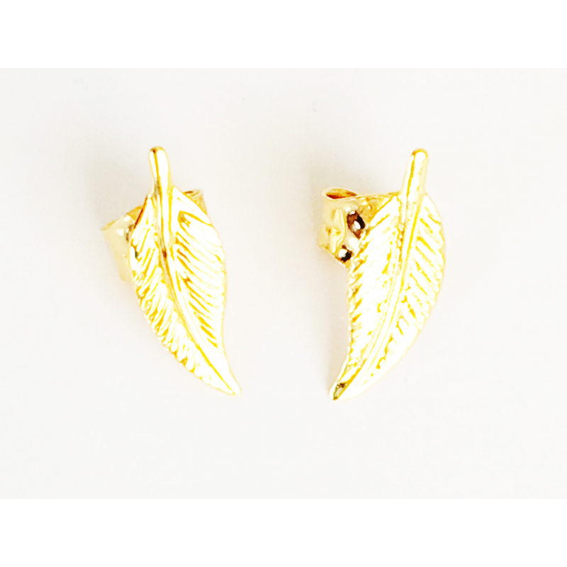 bijou femme or boucles d 39 oreilles plume. Black Bedroom Furniture Sets. Home Design Ideas