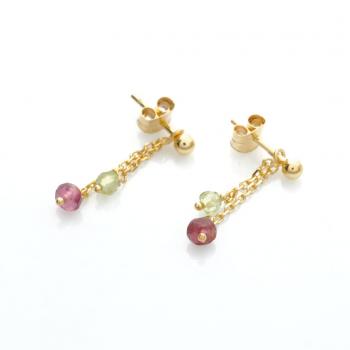 Boucles d'oreilles enfant 2 pendants tourmaline rose et péridot en Or jaune ou Or blanc