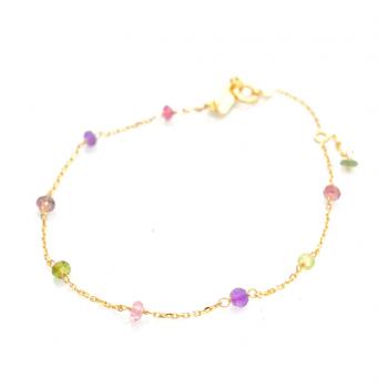 Bracelet enfant orné de 9 pierres fines en Or jaune ou Or blanc