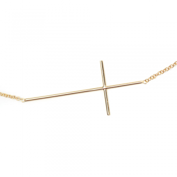 Collier croix fil en Or jaune ou Or blanc
