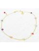 Chaîne cheville papillon et 9 pierres fines en Or jaune ou Or blanc