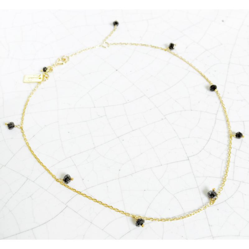 Chaîne cheville 9 diamants noirs en Or jaune ou Or blanc