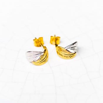 Créoles en Or bicolore deux plumes petit modèle