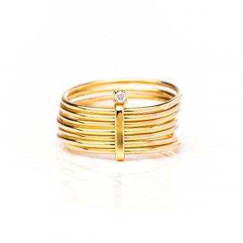 Bague semainier, sertie d'un diamant de 0.03 carat , Or jaune ou Or blanc, 9 carats