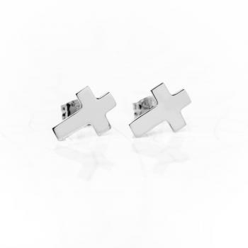 Boucles d'oreille croix plate en Or jaune ou Or blanc