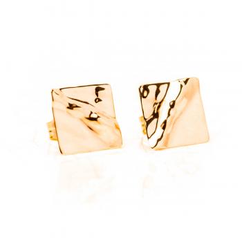 Boucles d'oreilles carré froissé en Or jaune ou Or blanc