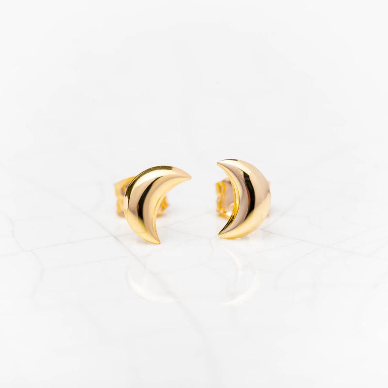 Boucles d'oreilles lune bombée en Or jaune ou Or blanc
