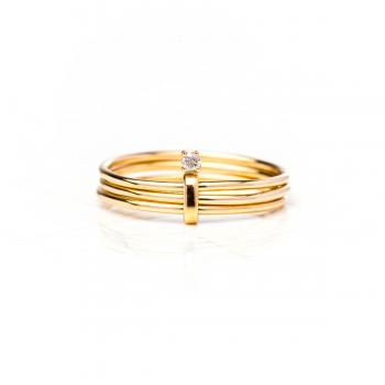Bague 3 anneaux, sertie d'un diamant de 0.03 carat , Or jaune ou Or blanc, 9 carats