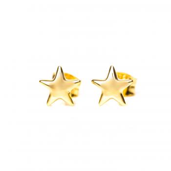Boucles d'oreille étoile bombée en Or jaune ou Or blanc