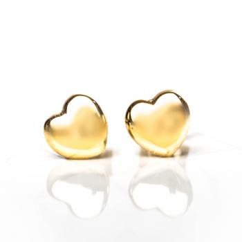 Boucles d'oreilles coeur bombé en Or jaune ou Or blanc