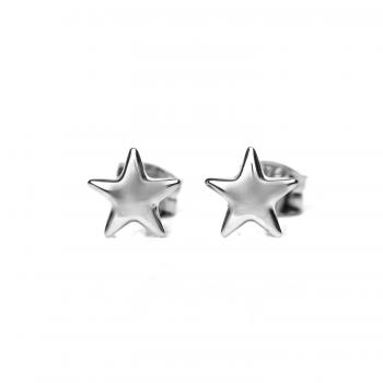 Boucles d'oreille enfant étoile bombée en Or jaune ou Or blanc