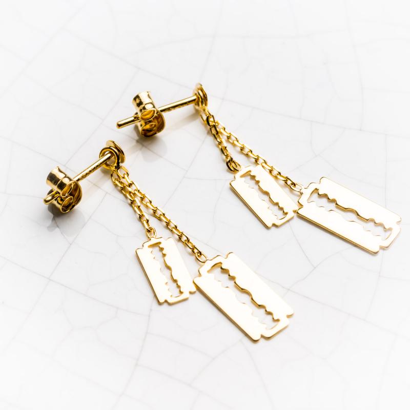 Boucles d'oreilles lame de rasoir en Or jaune ou Or blanc