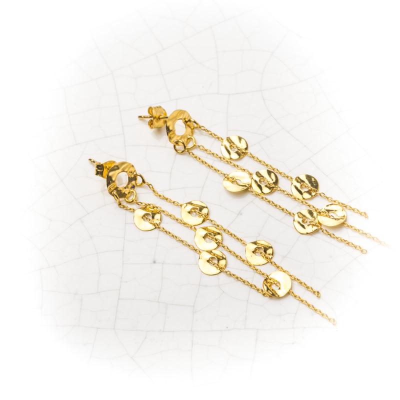 Boucles d'oreilles froissés en Or jaune ou Or blanc
