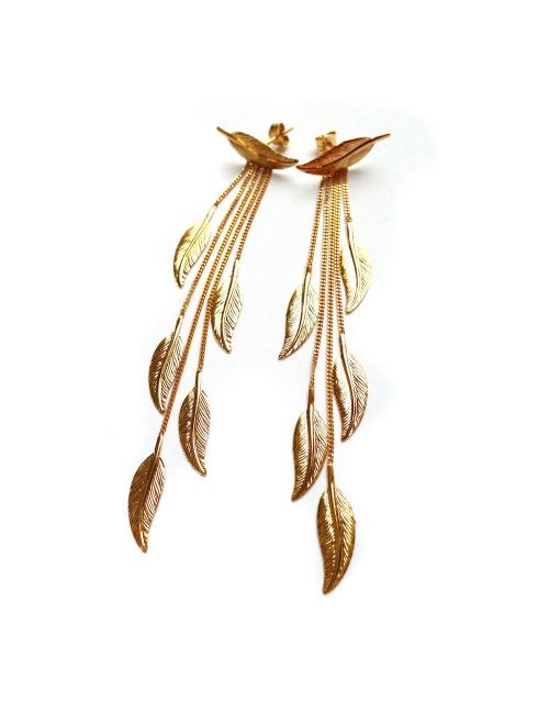 Bijou femme, boucles d'oreilles plumes, Or jaune et blanc, 9 carats, collection petit oiseau sauvage